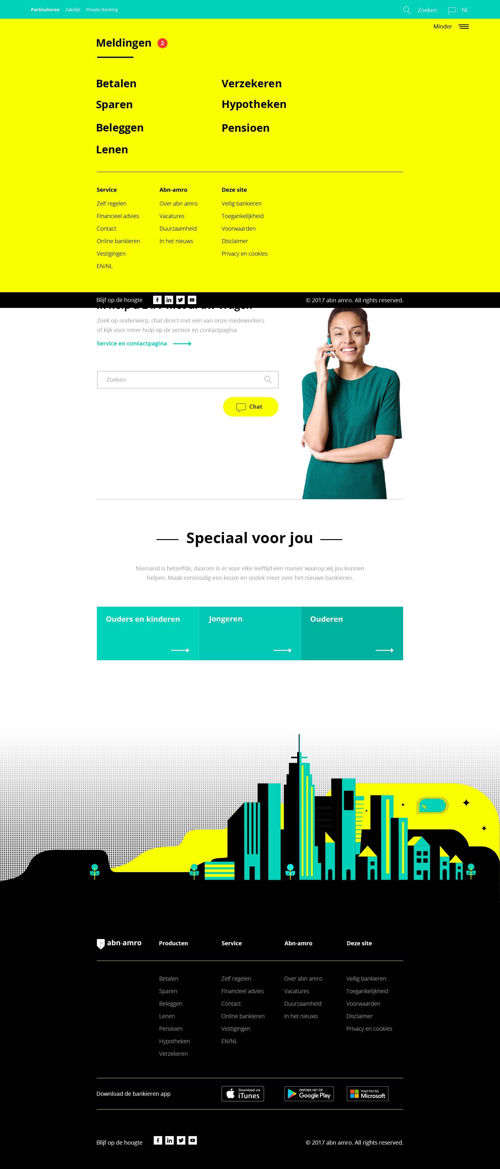 ABN-AMBRO Homepage menu